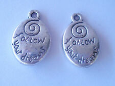 Sayings, Affirmations Love Much Follow Your Dreams pewter word charms from USA