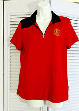 Ralph Lauren Active Red Short-Sleeve Half Zip Collar Polo Shirt Top Tee Blouse L