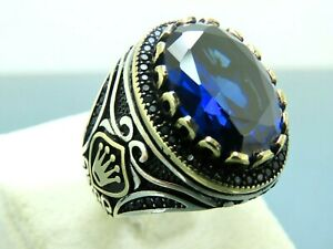 Turkish Handmade Jewlry 925 Sterling Silver Sapphire Stone Men Ring Sz 11