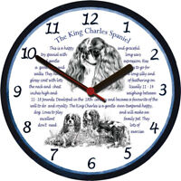 Cavalier King Large Wall Clock Charles Spaniel  Dog Breed Origins Animal Facts