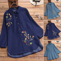 Mode Femme Revers Broderie Floral en Jean Manche Longue Chemise Haut Shirt Plus