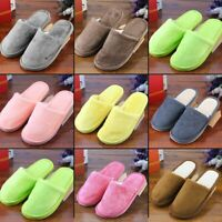Plush Indoor Home Women Men Anti Slip Shoes Soft Warm Cotton Silent Slippers Lh