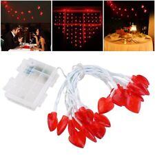 LED Lichterkette mit 20 beleuchteten Herz Motiven, Länge 3m / Herzen Rot DE