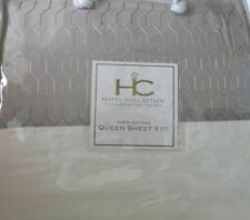 4pc Hotel Collection Fine Linens Taupe Hem on Ivory Queen Sheet Set NIP