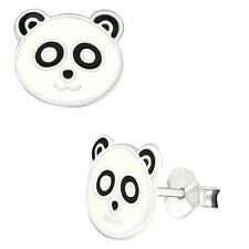 Panda Earrings 925 Silver Stud Earring Black White Epoxy Bear Animal Face Head