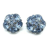 Vintage CORO Rhinestone Earrings Topaz Aquamarine Blue Rhodium Plated Cluster SB