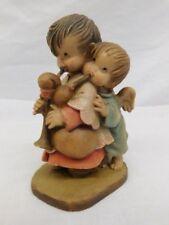 Anri Italy Carved Wood Figure Boy Girl Angel Bagpipe Ferrandiz