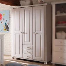 Kleiderschrank Babyzimmer Schrank Laura Kinderzimmer Kiefer massiv weiß 3-türig