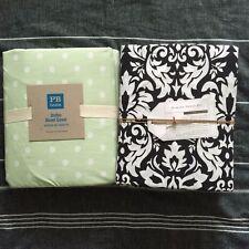 Pottery barn teen Damask floral sheet set Dottie duvet Cover Full Black green