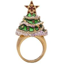 Ritzy Couture Christmas Tree Charm Ring Multi-Color, Size 9 (Goldtone)