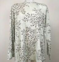 NEW J. JILL Sleep 2X 3X Ultrasoft Boxy Tee L/S Cotton/Modal Floral Green/Gray