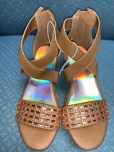 JUSTICE SANDALS CHESTNUT (13,1,7,8,9)CORK WEDGE SHIMMERING ROSE GOLD RHINESTONE!