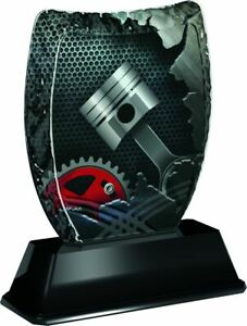 MOTOR RACING ENGINE TROPHY ICEBERG ACRYLIC *FREE ENGRAVING* 140mm *3 SIZES*