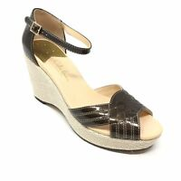 Women's Cole Haan Charlize Pumps Sandals Shoes Size 7.5B Brown Wedge Strappy AE2