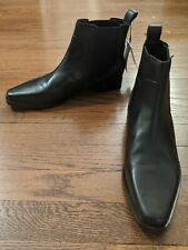 ZARA New! Leather Ankle Boots With Stretch Pull On Comfy 39 8.5 $149