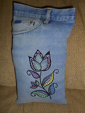 Hippie, Bohemian Upcycled Jean Pocket Pillow, Gypsy Flower, Upcycled