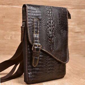 Genuine Cowhide Leather Men Crossbody Bag Small Crocodile Aligator Retro Bags