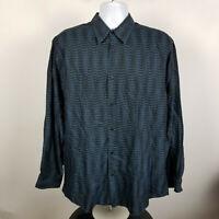 Jhane Barnes Dark Blue Green Geometric Mens Dress Button Shirt Size Large L