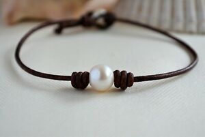 Pearl Leather Anklet Pearl Ankle Bracelet Single Pearl Anklet Body Jewelry Yevga