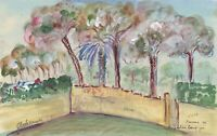 Gustave Bourgogne, Walled Garden – Original 1941 gouache painting