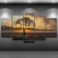 Canvas Painting Vintage Sunrise Tree Wall Art 5 Panel Poster Living Room Decor