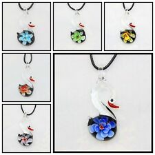 6 Pcs Fashion Women's swan lampwork Murano art glass beaded pendant necklace