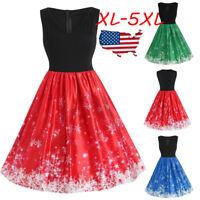 Fashion Women Vintage Plus Size Snowflake Print V-Neck Christmas Flare Dress