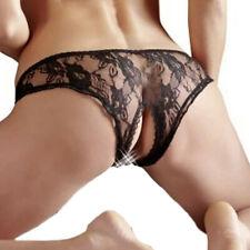 Cottelli Collection Damen Spitze Panty-Slip offen schwarz weiß Tanga S M L XL