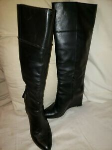 Tory Burch Black Leather Knee High Boots wedge heel Size 10M