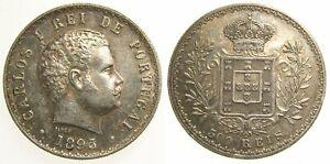 PORTUGAL 1893 Silver 500 Reis Carlos I AU+ Choice Toning