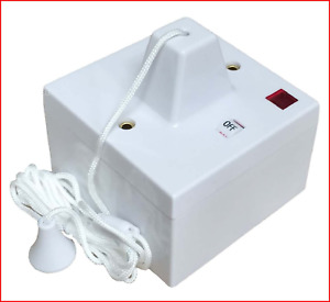 Shower Ceiling Pull Cord Switch & Pattress Box, 45 Amp Double Pole Neon Electric