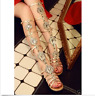 Womens Gladiator Sandals Celeb Rhinestones Leather Diamante Tall Flats Shoes US
