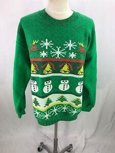 Green Christmas Sweat Shirt Snowmen Bells Trees L Large