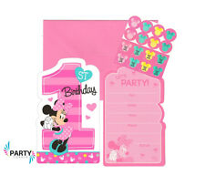 Minnie Mouse 1ST Birthday Party Supplies INVITES INVITATIONS Pack Of 8