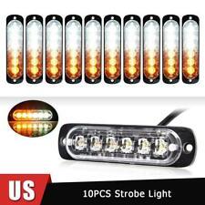 10x Amber/White Car 6 Led Emergency Warning Flash Strobe Light Kit Bar Led Lamps