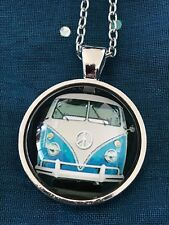 VW Volkswagon Hippy Van Glass Cabochon Dome Pendant Necklace.Hand Made NEW