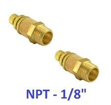 """Brass Flow Control Silencer 1/8"""" NPT Pneumatic Air Exhaust Muffler 2 Pieces"""