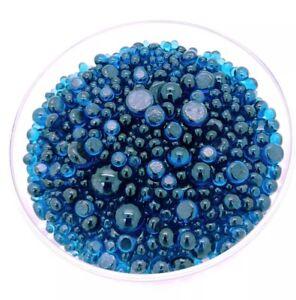 90 COE Bullseye Glass Fusing Dots Frit Balls Sea Blue Transparent