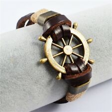 Stainless Steel Fashion Rudder Genuine Cow Leather Bracelet for Men Jewelry