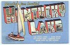 Postcard KY Kentucky Lake Large Letter Greetings From Kentucky Lake Linen