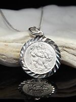 Sterling Silver 925 Saint St Christopher 16mm Pendant Necklace 16/18/20'' Chain