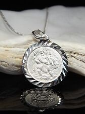 Sterling Silver 925 St Saint Christopher Pendant Necklace 16/18/20'' Chain Boxed