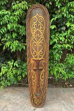 "Tribal Lombok Primitive African Tiki Wood Wall Mask Patio Tropical Bar Art  39"""