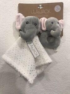 LILA & JACK Brand New Blanket + Rattle Gift Set ELEPHANT Lovey New