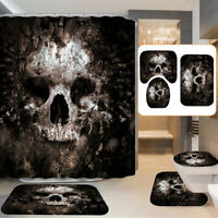 US Skull Waterproof Shower Curtain Bathroom Non-Slip Toilet Cover Mat Rug Set