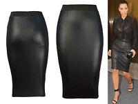 NUOVO Donna Effetto Bagnato PVC SEXY VESTITO ADERENTE MINIGONNA maglia leggings