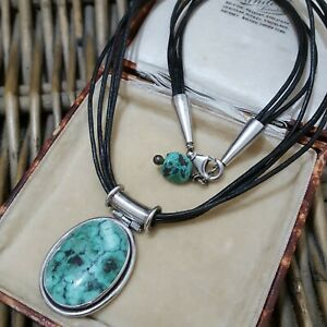 """Natural Turquoise Sterling Silver Necklace, 18"""", Faux Leather Strands Necklace"""