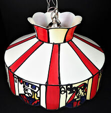 "Faux Stained Glass Pub Face Cards Poker Pool Table Lamp Shade Light 18"" Diameter"