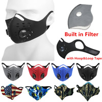 Reusable Face Mask with Active Carbon Filter Dual Breath Valves Cycling Sports
