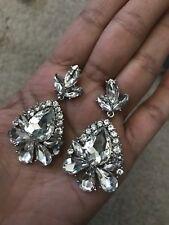 "2"" Clear Crystal Pageant White Silver Wedding Long Rhinestone Bridal Earrings"
